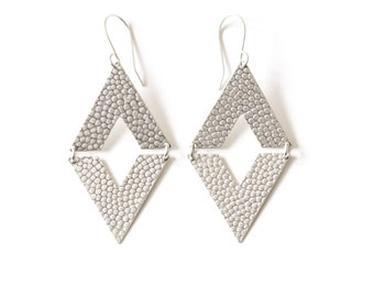 """Boho dangles handmade of recycled sterling silver mirrored triangles with hammered pattern, an earthy yet modern design - """"Pyramid Earrings"""""""