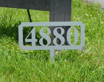 Rectangular Metal Address Stake - Free USA Shipping