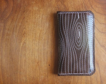 "Leather iPhone Wallet ""The Data Jack"" in Chocolate Espresso w/ Woodgrain Stitching"