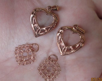 Solid Copper Filigree hearts or Squares(one pair)