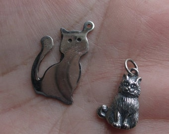 Sterling Silver Cat Stamping or Cat Charm(ONE cat)