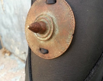 Primitive Oiled Black Leather Peaked Bracer with Brass Ethiopian Shield & Antiqued Brass Accents