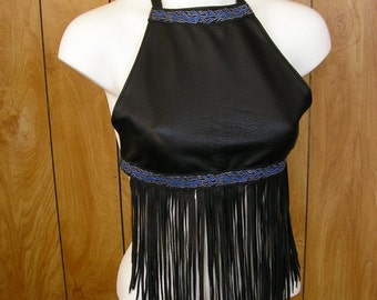 Black deerskin leather halter top, bra, with leather crisscross ties, long fringe & and blue flame ribbon, see measurements in listing