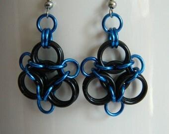 Aura Earrings in Blue and Black