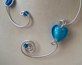 Blue, Blue jewelry, Blue necklace  , Statement necklace  - Aluminium wire jewelry - Wire wrapped - women gift