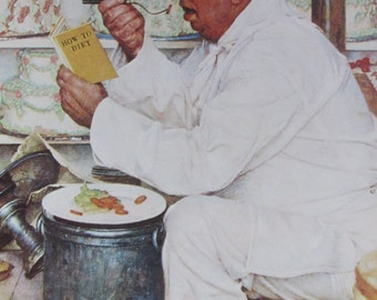 How To Diet,Norman Rockwell Magazine Cover Prints, Vintage Book Page, Unframed Color Plate, 1979