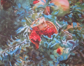 John Singer Sargent- Pomegranates- Unframed Reproduction Art Print, 9.5 x 14 in Book Page, Color Plate, Book Plate