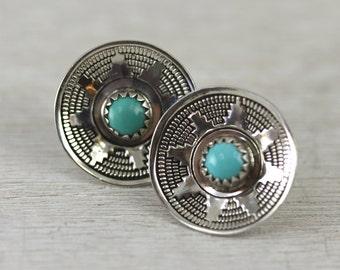 Vintage turquoise stud earrings in silver