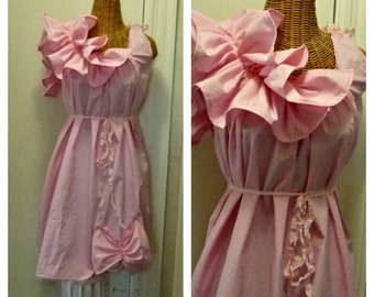 Pink Maternity Dress Size Small Baby Patisserie Knee Length Prenatal Maternity Womens Ruffled