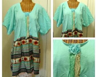 Aqua Southwest Dress Medium, Large, 1X, Tribal Lagenlook Art Wear Boho Womens Cotton Plus Size