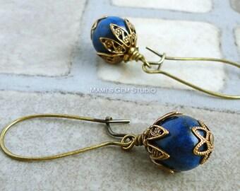 Blue Lapis Lazuli Earrings in Antiqued Brass, Kidney Earwires, Handcrafted Gemstone Jewelry