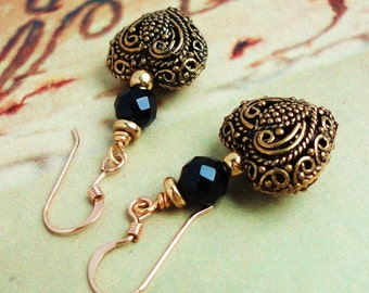 Heart Earrings in Antiqued Brass, Black Onyx, 14K Gold Filled Earwires, Gift Under 20 USD for Her, Wife, Mom