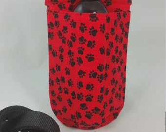 Massage Therapy Single bottle hip holster, Paws on red, Valentine, black belt