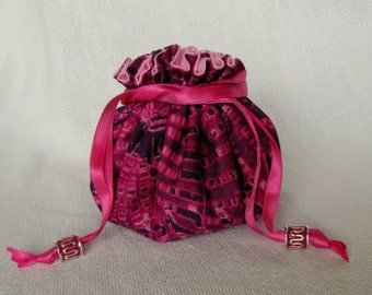 Fabric Jewelry Pouch - Medium Size - Drawstring Tote - Bag for Jewelry - PINK PARADISE