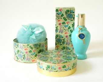 Vintage 1960s Avon Bird of Paradise Cologne Fluff Bottle and Sealed Powder / Asian Mid Century Retro Turquoise Vanity Display Set Prop