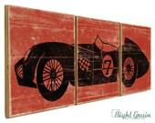 Vintage Race Car Wall Art - Boys Room Decor - Custom Car Print Collection 12x36