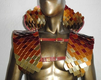 The Phoenix scale maille collar and shoulder armor + FREE BONUS: laser-cut necklace