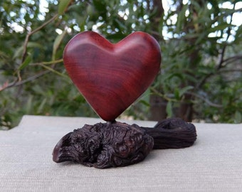 Love heart sculpture in wood - unique heart gift handmade in Australia - wooden home decor, table decor - sacred space