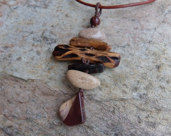 Mookaite, Pebble, Kyanite, Wood, Garnet pendant necklace - handmade Australia, NaturesArtMelbourne, natural tribal macrame jewellery