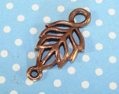 4 Leaf Charms Cut Out 2 Loop Connector COPPER Plated Pewter USA Made (Leaf3) 22mm Cutout Jewelry Supplies Findings Bulk Earrings Necklace