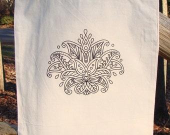 Lotus Flower Mandala Tote Bag Market Bag Graphic READY TO COLOR Zendoodle Adult Coloring Original Drawing Yoga Om Cotton Canvas Heat Press