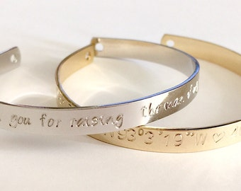 Personalized Cuff Bracelet, Hand Stamped Custom Bracelet Name, Quote Cuff, Inspirational Gift