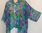 Coco and Juan Plus Size Top Lagenlook Green Sea Print High Low Shirt Jacket OS 1X 2X 3X Bust to 64 inches