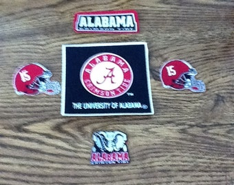 University of Alabama Crimson  Tide 5pc Iron on Patch set