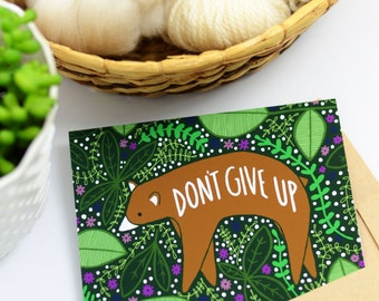 Don't Give Up Bear Cards, Inspiring Cards, Blank bear Cards, Bear Greeting Cards, Bear Inspiration Cards, Bear Thinking Of You Cards