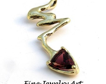 Beautiful Triangle Garnet Necklace Handmade in 14k Gold- Unique Fluid  Lightning Bolt Custom Pendant Art Design &  Natural Red Gemstone