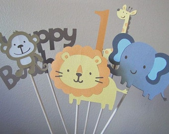 Safari Party Centerpiece, Jungle Party Centerpiece, Safari 1st Birthday Party, Jungle 1st Birthday, Safari Animal Party, Set of 6 Sticks