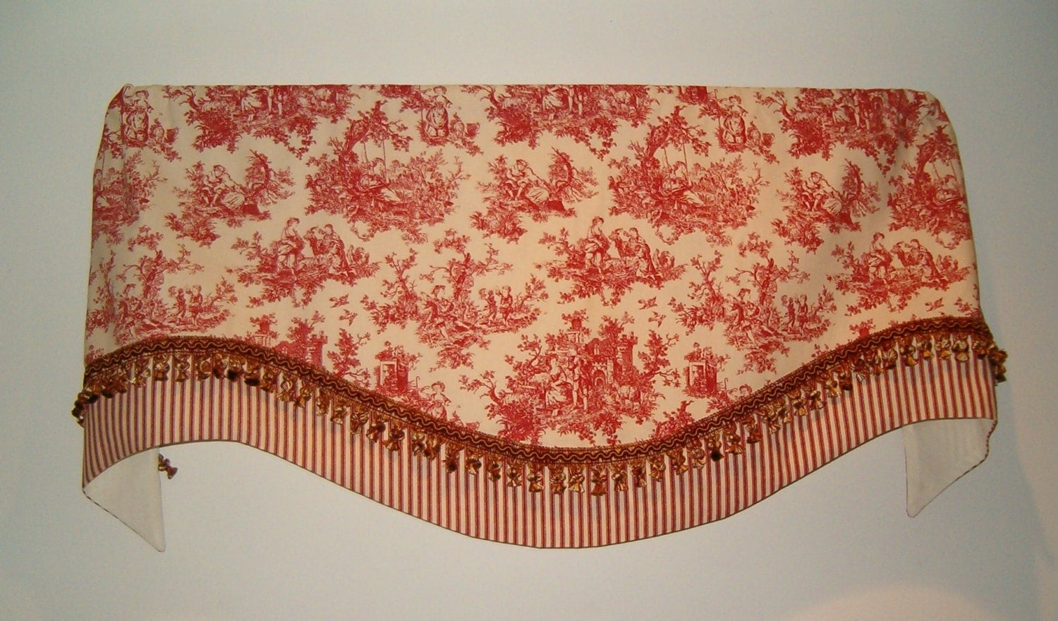 Country French Valance In Red Toile With Coordinating Fringe