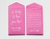 Custom Pink Lottery Ticket Wedding Favor Packet Envelopes - Many Colors Available