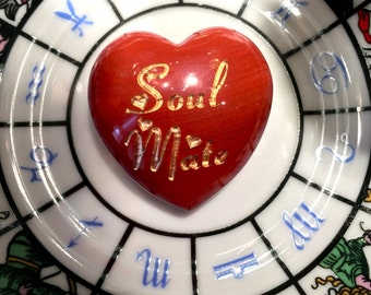 New! Soul Mate Intention Heart - Engraved stone in Red Jasper - Stone of Passion