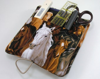 Medical Pocket Organizer - Nurse Scrubs Pocket Case - Vet Tech -Two Sizes to choose from - Horses Pattern