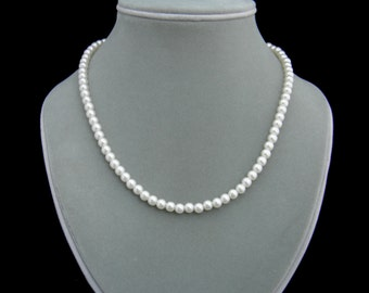Pearl Necklace, Classic Pearl Single Strand Necklace - READY TO SHIP