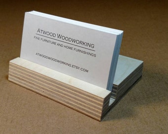 Birch Wood Business Card Holder Office Decor
