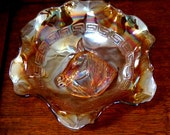 Vintage Carnival Glass Bowl Pony Head Marigold Dugan Greek Key Design Ruffled  Edge Radium Finish