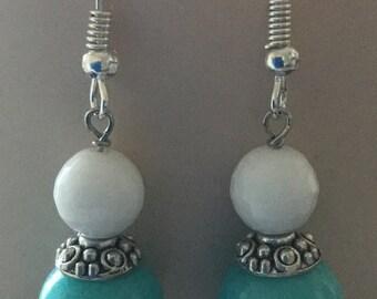 Jade And White Agate Earrings