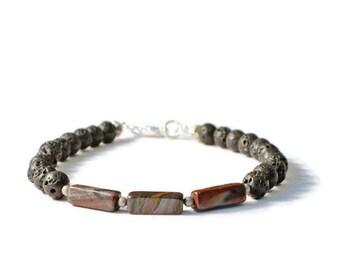 Natural Lava Stone & Tiger Iron Gemstone Diffuser Bracelet,  Essential Oil Jewelry