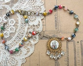 petite religious assemblage necklace beaded rhinestone dangles cross small catholic cottage chic