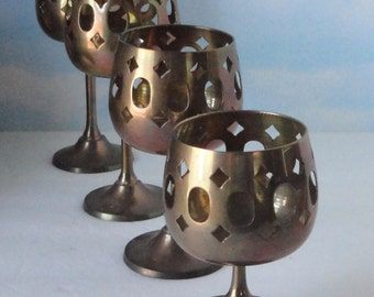 Vintage Brass Footed  Tea candle/ Votive candle Holder in 4 different sizes.