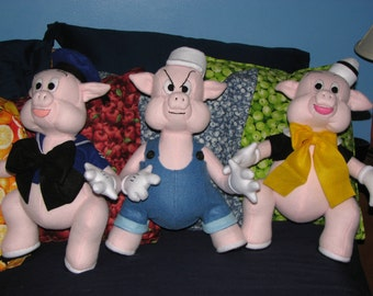 All Three Little Pigs - soft sculpture dolls - handmade in Ohio