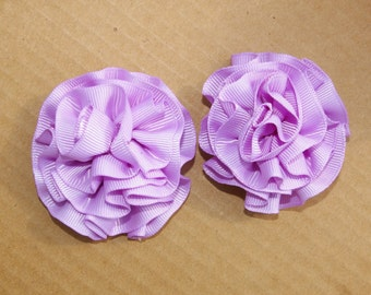 Toddler Hair Bow Set Lavendar Large Rosette Clip Bow Set