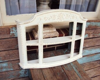 Vintage Shabby Chic Hanging Cabinet Tiered Wall Shelf Curio Cabinet Shadow Box Hollywood Regency Baroque French Provincial  Large Shelf