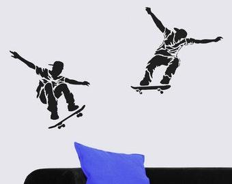 Skateboarders 2-Piece Stencil Kit - Size: Medium - Better than Decals - Reusable Stencils for DIY Wall Decor