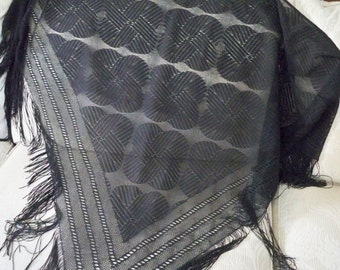 Vintage Accessory Black Fringed Women's Shawl Dressy Wrap Evening Shawl