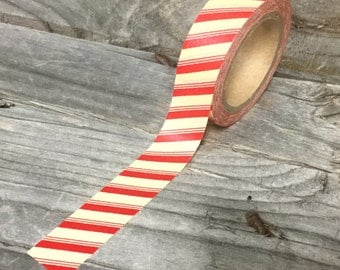 Washi Tape - 15mm - Red and White Candycane - Deco Paper Tape No. 948