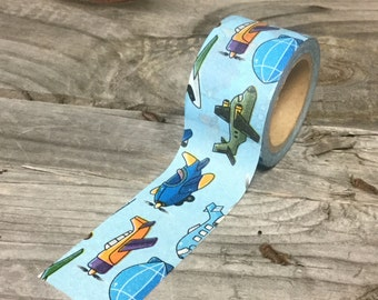 Washi Tape - 30mm - Airplanes on Light Blue - Deco Paper Tape No. 988