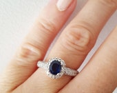 Engagement ring, sapphire ring, vintage diamond ring, vintage sapphire ring